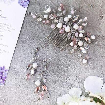 Набор украшений для невесты (веточка на гребне и серьги)