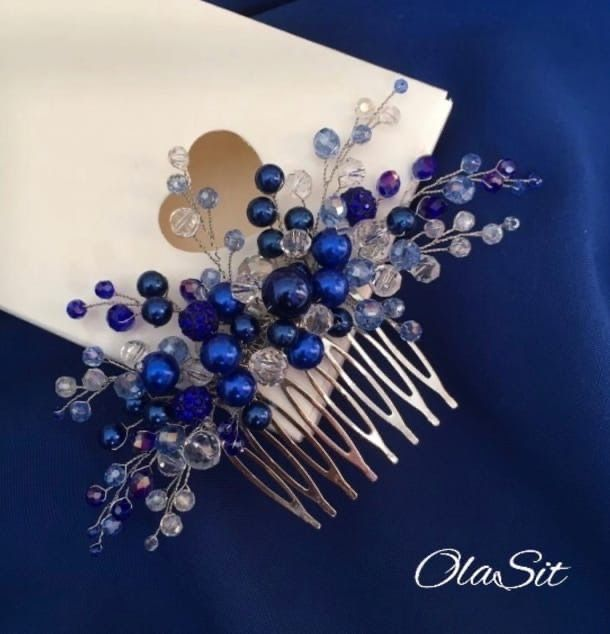 Гребень свадебный синий
