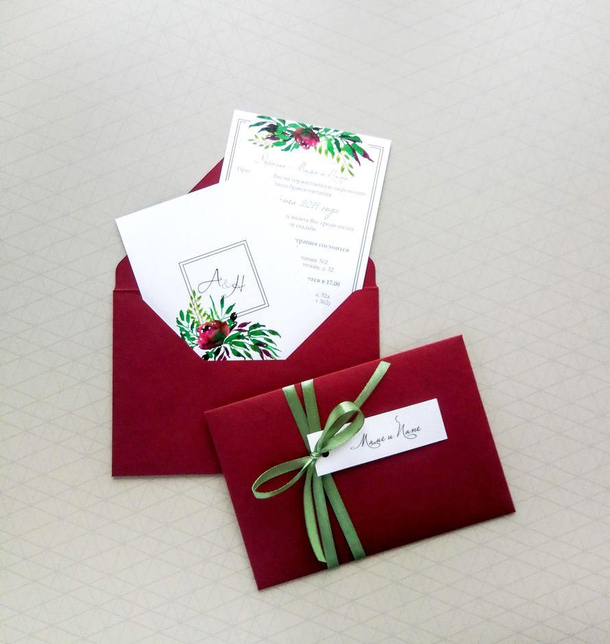Комплект приглашений - Винные пионы +