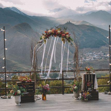 Организация свадьбы с видом на горы Казбеги и Гудаури