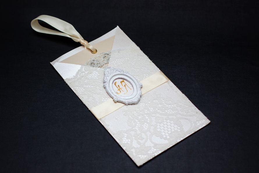 Винтажное приглашение в конверте. Цена 250 руб. - фото 856559 Крутякова Елена - пригласительные ручной работы
