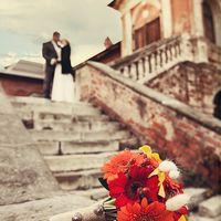 Букет невесты из гербер в осенних тонах