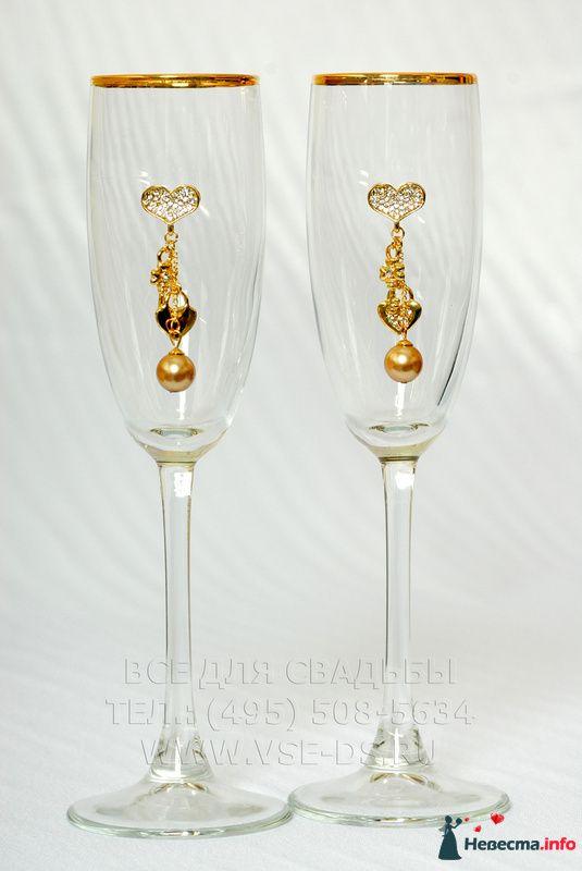"""Свадебные бокалы """"Ключики с бусинкой"""". Арт. 114-012"""