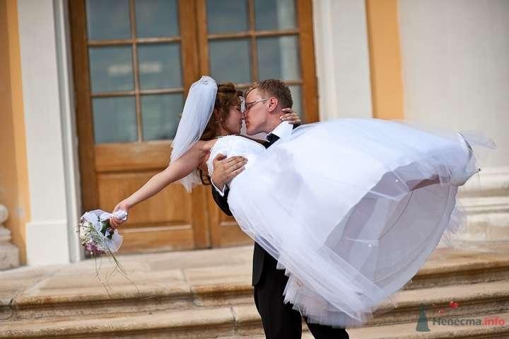 Жених держит на руках невесту у входа в здание - фото 45840 Фотограф Максим Корогодский