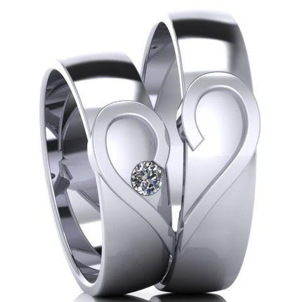 Парные обручальные кольца с бриллиантом. Белое золото. На заказ