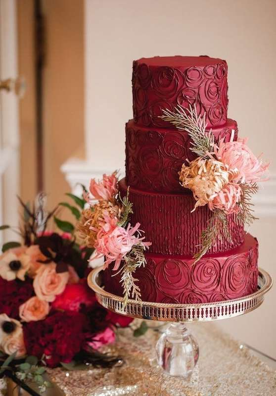 Фото 16473178 в коллекции Торты в Бордовом цвете - Свадебное агентство Monte Carlo