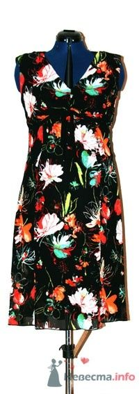 Летнее платье из пестрого шифона, на шифоновой черной подкладке, отделка черным кантом. - фото 50191 Белошвейка
