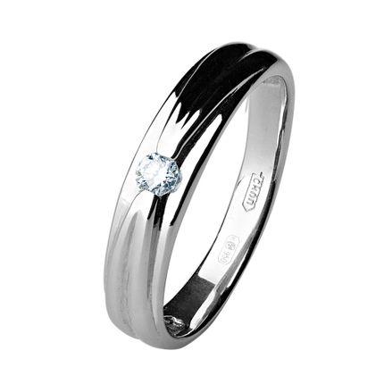 Кольцо из платины с 1 бриллиантом, 4 мм