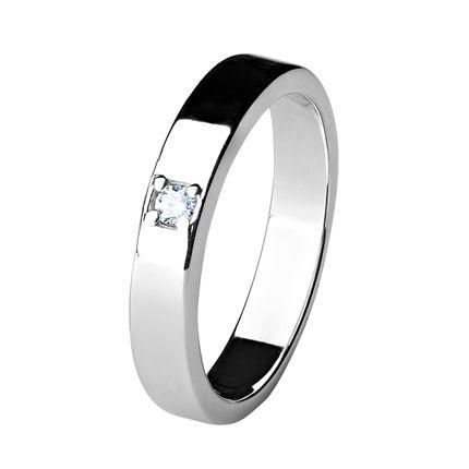 Обручальное кольцо из палладия с 1 бриллиантом шириной 3,5 мм