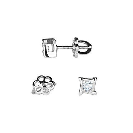 Серьги-гвоздики из платины с бриллиантами