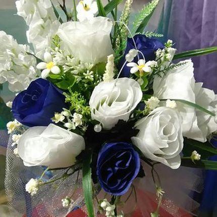 Букет дублер в бело-синей гамме