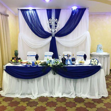 Оформление зала - Сине-белая