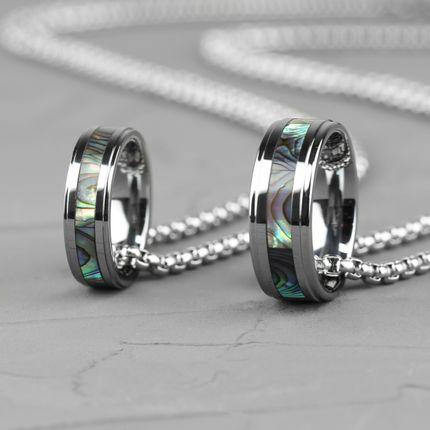 Кольцо из вольфрама с перламутровой вставкой (R-TG-0105)