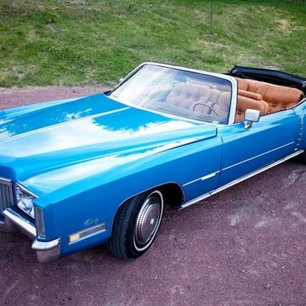 192 Ретро автомобиль Cadillac Eldorado голубой cabrio в аренду