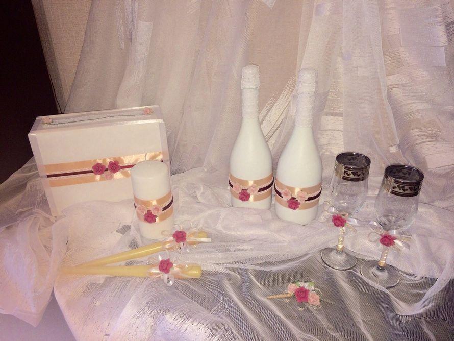 Свадебный набор в персиковом цвете с бордовой вставкой - фото 17764586 Свадебные наборы аксессуаров Крыкиной Юлии