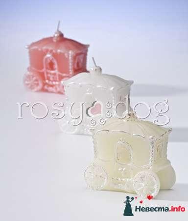 Свадебные свечи Карета (белый, розовый, кремовый) - фото 87597 RosyDog – свадебные аксессуары из Америки и Европы