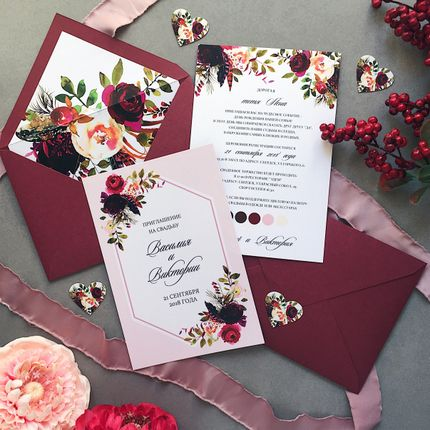 Свадебные приглашения в цвете марсала