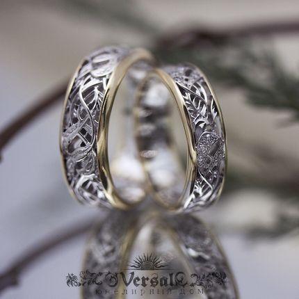 Парные обручальные кольца с серебром