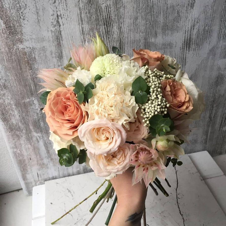 """Пудровыйй букет невесты 2018 - фото 18091794 Студия декора """"Lovely"""""""