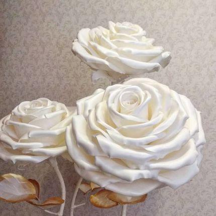 Фотозона из гигантских белых роз