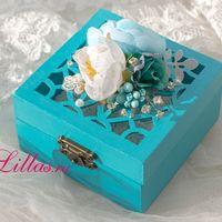 Коробочка для колец в бирюзовом цвете