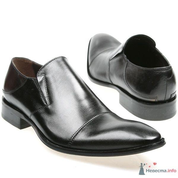 Мужские черные кожаные туфли без шнурков