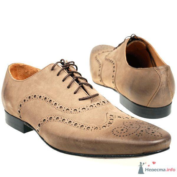 Светло-коричневые мужские кожаные туфли с узорами - фото 76078 Kwinto-shoes - cвадебная обувь