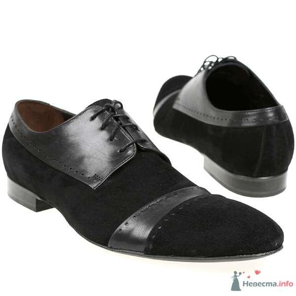 Черные замшевые туфли со вставкой из гладкой черной кожи, со шнурками - фото 76083 Kwinto-shoes - cвадебная обувь